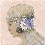 Papel Decoupage Adesiva Litoarte DAXV-071 15x15cm Mulher com Flores Brancas e Azuis