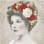 Papel Decoupage Adesiva Litoarte DAXV-074 15x15cm Dama com Flores Brancas e Vermelhas