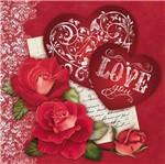 Papel Decoupage Adesivo Rosas e Corações 20x20cm DA20-036 - Litoarte