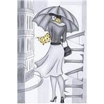 Papel Decoupage Arte Francesa Litoarte AF-224 31,1x21,1cm Dama em Preto e Branco Itália