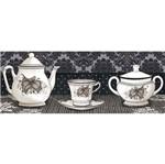 Papel Decoupage Arte Francesa Litoarte AFP-096 25x10cm Jogo de Chá Preto e Branco