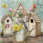 Papel Decoupage Arte Francesa Litoarte AFQ-393 21x21cm Casas Passarinho com Regador de Flores