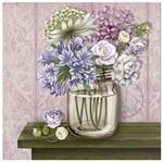 Papel Decoupage Arte Francesa Litoarte AFQG-106 30,7x30,7cm Vidro com Flores