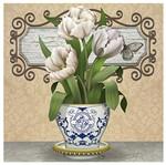 Papel Decoupage Arte Francesa Litoarte AFQG-109 30,7x30,7cm Vaso com Tulipas Brancas