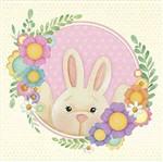 Papel Decoupage Arte Francesa Litoarte Páscoa AFQ-407 21x21cm Coelha com Flores Coloridas