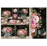 Papel Decoupage Litoarte 34,3x49 PD-997 Flores Rosas