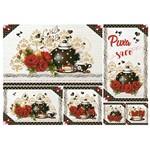 Papel Decoupage Litoarte 34,3x49 PD-999 Chás e Rosas Vermelhas
