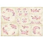 Papel Decoupage Litoarte 34,3x49 PD1-079 Flores Fundo Bege