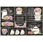 Papel Decoupage Litoarte PD 002 - Flores Rosas com Fundo de Giz - 50 X 34,3cm
