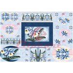 Papel Decoupage Litocart LD-830 34x48cm Flores Brancas e Azuis