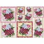 Papel Decoupage Litocart LD-912 34x48cm Flores Vermelhas e Brancas