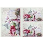 Papel Decoupage Litocart LD-936 34x48cm Vasos Decorativos com Flores