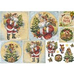 Papel Decoupage Natal Litoarte PDN-131 34,3x49cm Papai Noel Vintage