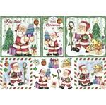 Papel Decoupage Natal Litoarte PDN-128 34,3x49cm Papai Noel e Bichinhos