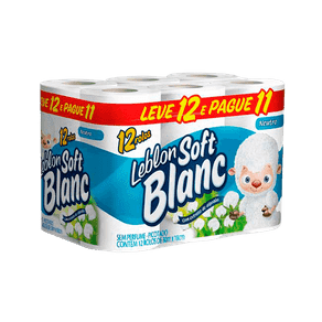 Papel Higiênico Folha Simples Leblon Soft Blanc Neutro Leve 12 e Pague 11 Rolos (30m X 10cm)