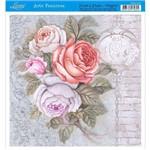 Papel para Arte Francesa Litoarte 21 X 21 Cm - Modelo Afq-315 Rosas My Home