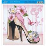 Papel para Arte Francesa Litoarte 21 X 21 Cm - Modelo Afq-343 Sapato e Flores