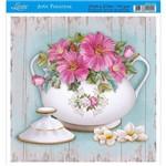 Papel para Arte Francesa Litoarte 21 X 21 Cm - Modelo Afq-338 Flores no Açucareiro