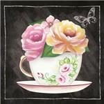 Papel para Arte Francesa Litoarte 10x10 AFX-383 Xícara com Flores