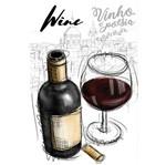 Papel para Arte Francesa Litoarte 17,1x31,7 AFV-008 Garrafa de Vinho e uma Taça