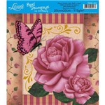 Papel para Decoupage com Hot Stamping Litoarte 20 X 20 Cm - Modelo D20h-022 Rosas/Borboleta Cor Rosa