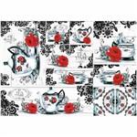 Papel para Decoupage Litoarte 49 X 34,3 Cm - Modelo Pd-462 Chá Rosa Vermelha