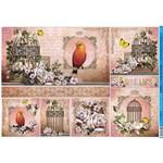 Papel para Decoupage Litoarte 49 X 34,3 Cm - Modelo Pd-382 Gaiolas, Flores e Pássaros