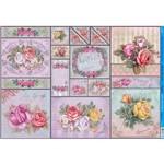 Papel para Decoupage Litoarte 49 X 34,3 Cm - Modelo Pd-880 Rosas Coloridas Vintage