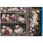 Papel para Decoupage Litoarte 49 X 34,3 Cm - Modelo Pd-891 Rosas Fundo Escuro