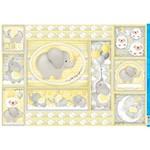 Papel para Decoupage PD 987 Elefante Bebê Amarelo