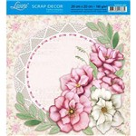 Papel Scrap Decor Folha Simples 20x20 Flores e Ramos Sdsxx-022 - Litoarte