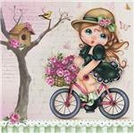 Papel Scrap Decor Folha Simples 20x20 Menina de Bicicleta SDSXX-002 - Litoarte