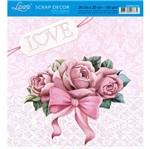 Papel Scrap Decor Folha Simples 20x20 Rosas com Laço Sdsxx-016 - Litoarte
