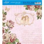 Papel Scrap Decor Folha Simples 20x20 Rosas e Anjos Sdsxx-028 - Litoarte