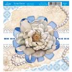 Papel Scrap Decor Folha Simples 15x15 Flor e Pérola SDSXV-063 - Litoarte