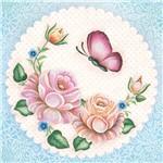 Papel Scrap Decor Folha Simples 15x15 Flores com Borboleta SDSXV-055 - Litoarte