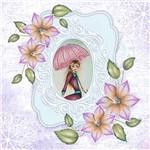 Papel Scrap Decor Folha Simples 15x15 Flores com Dama SDSXV-054 - Litoarte