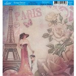 Papel Scrap Decor Folha Simples 15x15 Flores Paris SDSXV-006 - Litoarte