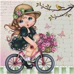 Papel Scrap Decor Folha Simples 15x15 Menina na Bicicleta Sdsxv-046 - Litoarte