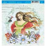 Papel Scrap Decor Folha Simples 15x15 Mulher com Beija-Flor Sdsxv-082 - Litoarte