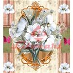 Papel Scrap Decor Simples 20x20 Moldura com Flores Lscxx-020 - Litocart
