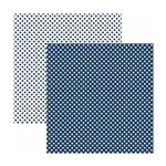 Papel Scrapbook Básico - KFSB452 - Poá Pequeno Azul Marinho - Toke e Crie