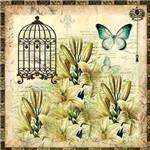 Papel Scrapbook com Glitter Borboleta com Flores e Gaiola LSCG-022 - Litocart