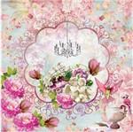 Papel Scrapbook com Glitter Litocart 30,5x30,5 LSCG-004 Moldura e Flores