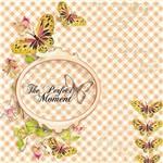 Papel Scrapbook com Glitter Momentos com Borboleta LSCG-018 - Litocart