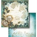 Papel Scrapbook Dupla Face Flor com Arabesco LSCD-319 - Litocart