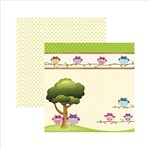 Papel Scrapbook Corujinhas da Floresta na Árvore Sdf441 - Toke e Crie