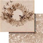 Papel Scrapbook Dupla Face 30,5x30,5cm Borboleta com Flores e Pássaros Lscd-379 - Litocart