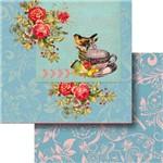 Papel Scrapbook Dupla Face 30,5x30,5cm Flores e Pássaro Lscd-380 - Litocart