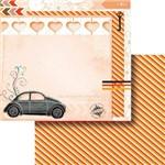 Papel Scrapbook Dupla Face 30,5x30,5cm Fusca e Corações Lscd-374 - Litocart